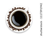 cup with coffee and plate and... | Shutterstock .eps vector #1117391942