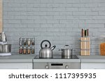 modern kitchen interior with... | Shutterstock . vector #1117395935