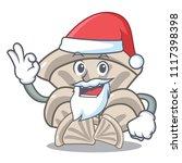santa oyster mushroom mascot... | Shutterstock .eps vector #1117398398