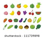 healthy vegetables and fruits | Shutterstock .eps vector #111739898
