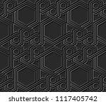 3d dark paper art islamic... | Shutterstock .eps vector #1117405742