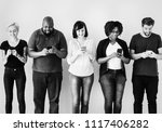 group of people using mobile... | Shutterstock . vector #1117406282