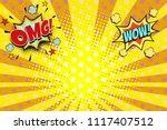 omg wow yellow orange rays pop...   Shutterstock .eps vector #1117407512