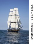 tall ship sailing on blue waters | Shutterstock . vector #111741266