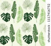 palm tree leaves seamless... | Shutterstock .eps vector #1117416752