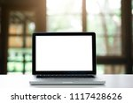 laptop with blank screen on...   Shutterstock . vector #1117428626