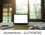 workspace wood desk with laptop ...   Shutterstock . vector #1117428782