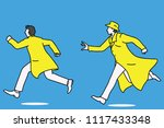 detective running and chasing a ... | Shutterstock .eps vector #1117433348