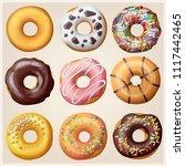 set of cartoon donuts. sweets...   Shutterstock . vector #1117442465