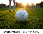 penalty kick training with a... | Shutterstock . vector #1117445342