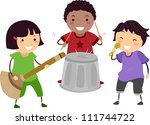Illustration of Kids Playing with an Imaginary Drum, Guitar, and Microphone - stock vector
