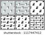wedding set. seamless patterns...   Shutterstock .eps vector #1117447412