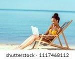smiling african american female ...   Shutterstock . vector #1117468112