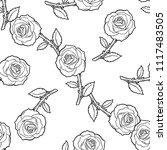 roses seamless pattern | Shutterstock .eps vector #1117483505