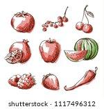 assortment of red foods  fruit... | Shutterstock .eps vector #1117496312