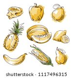 assortment of yellow foods ... | Shutterstock .eps vector #1117496315