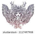 demonic winged angel magic... | Shutterstock .eps vector #1117497908