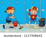 two kids help cleaning toilet... | Shutterstock .eps vector #1117508642