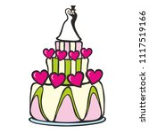 wedding cake hearts husband and ... | Shutterstock .eps vector #1117519166