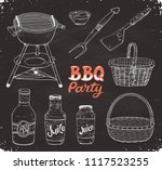 bbq party. hand drawn outdoor... | Shutterstock .eps vector #1117523255