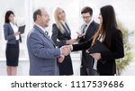 assistant meets a businessman... | Shutterstock . vector #1117539686
