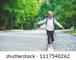 back to school. happy smiling... | Shutterstock . vector #1117540262