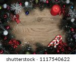 christmas wreath with a... | Shutterstock . vector #1117540622