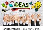 many hands of businesspeople...   Shutterstock . vector #1117548146