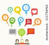 social media network abstract... | Shutterstock .eps vector #111756962