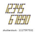 geometric font line digital...   Shutterstock .eps vector #1117597532