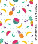tropical fruit vector seamless... | Shutterstock .eps vector #1117598522