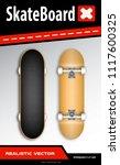 realistic skateboard in vector... | Shutterstock .eps vector #1117600325