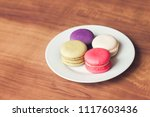 colorful french macarons on... | Shutterstock . vector #1117603436
