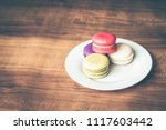 colorful french macarons on... | Shutterstock . vector #1117603442