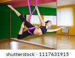 young beautiful woman doing... | Shutterstock . vector #1117631915