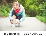 portrait of a sporty blonde... | Shutterstock . vector #1117640702