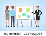 woman pointing to whiteboard....   Shutterstock .eps vector #1117663085
