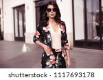 fashionable brunette woman... | Shutterstock . vector #1117693178