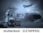 global business of container... | Shutterstock . vector #1117699532