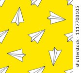 paper airplane seamless pattern | Shutterstock .eps vector #1117703105