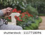 woman use smartphone in garden. ... | Shutterstock . vector #1117718096