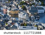 city centre of alesund from the ... | Shutterstock . vector #1117721888