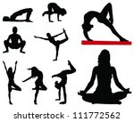 yoga silhouettes 2 vector | Shutterstock .eps vector #111772562