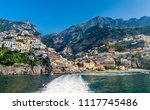 sea front view of positano town ... | Shutterstock . vector #1117745486