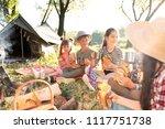 little children eating... | Shutterstock . vector #1117751738