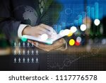 businessman analyzes the... | Shutterstock . vector #1117776578