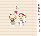 wedding card with cartoon groom ... | Shutterstock . vector #111779378