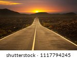 straight long road with sun set   Shutterstock . vector #1117794245