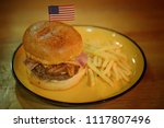 big size hamburger and french... | Shutterstock . vector #1117807496