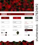 dark green  red vector ui kit...
